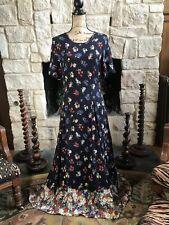 Vintage Rare Katie Dress 12 Long Blue Floral Maxi Sundress Like Free People W4