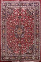 Vintage Floral Kashmar Signed Area Rug Traditional Hand-knotted Wool Carpet 8x11