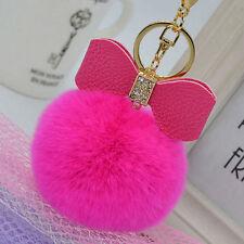 Rose Red Fluffy Puff Ball Bow Keychain Pendant Handbag KeyRing Rabbit Fur Pompom