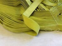 """10 Yards 7/8""""  Vintage FRENCH VELVET Ribbon Rayon Made in France Lime Green"""