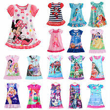 Girl Kid Disney Princess Sleepwear Nightgown Pajamas Nightie Pyjamas Dress 2-13Y