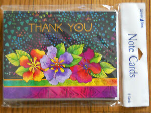 8 Leanin Tree Note Cards,THANK YOU, VERY BRIGHT COLORFUL FLOWERS Laurel Burch