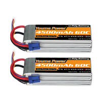 2pcs 22.2V 6S 4500mAh LiPo Battery 60C EC5 for RC Helicopter Airplane Car Truck