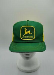 Vintage John Deere Green Yellow Mesh Trucker Cap Patch Snapback K-PRODUCTS USA