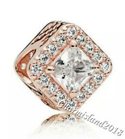Authentic Pandora Charm 786206 Rose Gold Geometric Radiance Clear CZ Bead