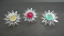 "BEAUTIFUL SET/3 SWAROVSKI CRYSTAL ""DAISY"" CAKE TOPPERS - RED, YELLOW & GREEN"