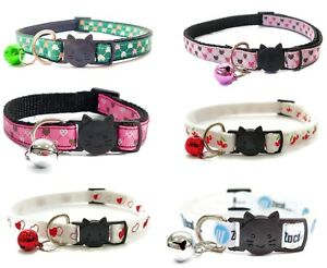 Cat Collars with Bell - Mini Love Hearts   Pet Collars   Quick Release Buckle