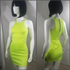 Tobi Neon Yellow 80s 90s style Mini Party Dress Women's Size Small Body Con