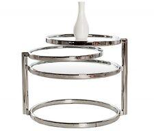 Beistelltisch Art Deco Chrom / Glas - 3 Ebenen