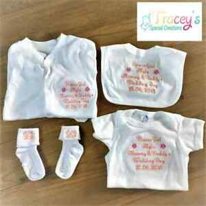 Personalised embroidered Baby baby grow. Flower girl gift set.