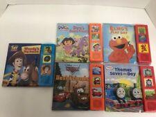 Set of 5 Board Books w/ Play-A-Sound Elmo, Cars, Toy Story, Thomas & Dora New