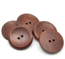 5 Wooden LARGE Reddish Brown Wood Buttons 40mm Sewing scrap book Free UK P&P