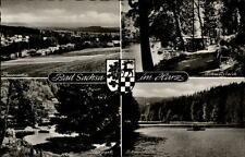Bad Sachsa resina più mappa immagine ~ 1950/60 Panorama congelarsi stagno Kurpark barche tra l'altro