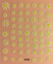 Nail Art 3D Decal Stickers Glittery White Flowers with Yellow Center TFK2