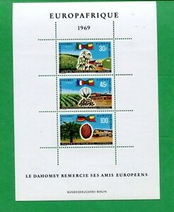 Lot of 4 - 1969 Dahomey Airmail Postage Stamp Souvenir Sheets #C105a