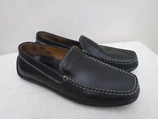 Men's GEOX 10 43 Black Leather Moccasin Slip On Driving Loafers Casual SHoes