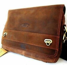Genuine Men's Natural Leather Bag for iPad Laptop Vintage Style Brown Cross body