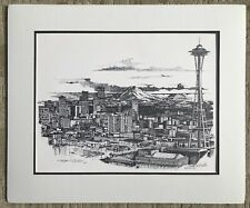 """Christopher Paul Bollen """"My Silver City"""" (Seattle) Signed Matted Print"""