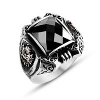 Turkish 925 Sterling Silver Ottoman NEW black onyx stone mens man ring ALL SİZE