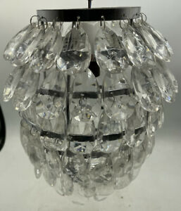 Clear Drops Pendant Light Shade Chrome Fittings. Pineapple Style VGC