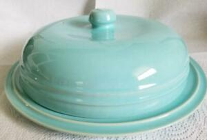Pacific Pottery Hostess Ware Covered Muffin w Base Plate # 639 Turquoise Aqua