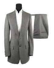 Vintage Men's Bespoke Hand Tailored Gray Herringbone 2 Piece Suit Size 40