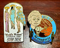 2 FOR 1 SALE! Vintage Star Trek Cloisonne Pin Set of 2-Mudd Wom/Menagerie(04/16)