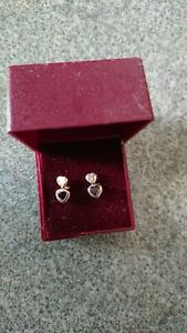 Stunning 9ct Gold Amethyst And White Zirconium Stone Double Heart Stud Earrings