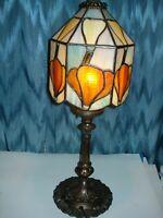 VINTAGE BRASS LAMP SLAG GLASS 6 PANEL COLORFUL SHADE 3 SOCKET BULBS, 3 WAY SWITC