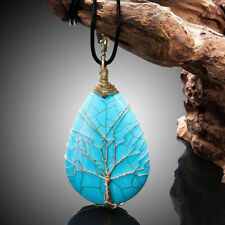 Large copper wire Turquoise Tree of Life Necklace Exaggerated Drop Stone Pendant