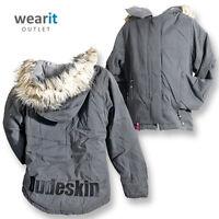 Dudeskin Girls Charcoal Jacket Coat Fleece Lining Winter School with Hood