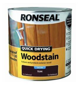 Ronseal Quick Drying Woodstain Satin teak 250ml -Fast Dispatch Free P&P