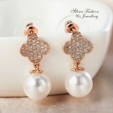 18K Rose Gold Filled Simulated Pearl & Diamond Elegant 4 Leaf Clover Earrings
