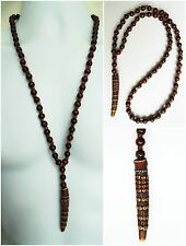 "AFRICAN ETHNIC INSPIRED MENS LONG 30"" DARK BROWN HORN PENDANT WOOD BEAD NECKLACE"