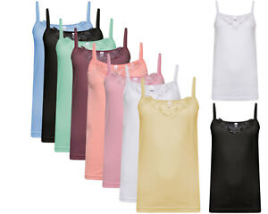 Ladies Vest Tops Womens Camisole Plain Cotton Summer Casual Tank Cami Inner Lace