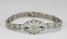 Antique Art Deco Diamond Emerald Bracelet Filigree .22cttw White Gold  7Grams