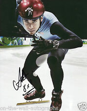 APOLO OHNO HAND SIGNED AUTOGRAPHED OLYMPIC RECORD BREAKING PHOTO! WITH PROOF+COA