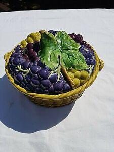 SARREGUEMINES FRANCE ANTIQUE MAJOLICA FRUITS WOVEN FRUIT BASKET SHAPED TUREEN