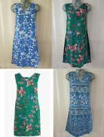 Ladies NEXT Shift Dress Linen Floral Print Summer Smock Vintage Beach Size 8-26