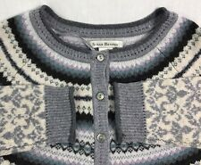 Women's Susan Bristol Cardigan Sweater Size Medium 100% Merino Wool Gray