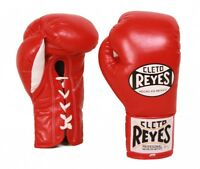 Cleto Reyes Official Leather Lace Up Boxing Gloves - Red
