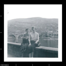 Old Square Photo WOMEN WITH CAMERA SITTING ON BRIDGE NEXT TO CASTLE