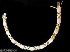 18K oro riempito unico ITALIANO Due Tonalità KISSES 18ct GF Bracciale 18cm