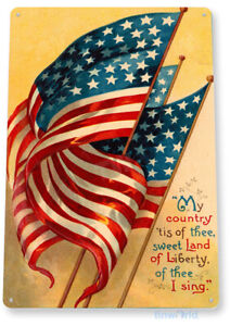 TIN SIGN My Country Tis-Of-Thee Flag Patriotic USA America Sign Decor B364