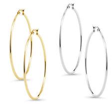 2 Inch Stunning Stainless Steel Hoop Set of Two Earrings (50mm Diameter)