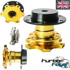 GOLD QUICK RELEASE SNAP OFF STEERING WHEEL HUB BOSS KIT fit MOMO SPARCO OMP