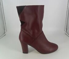 La Redoute Mademoiselle Red Leather Ankle Boots UK 6 EU 39 JS088 JJ 02