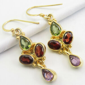 Gold Plated Pure Sterling Silver Natural PERIDOT, GARNET, AMETHYST Earrings 4 cm