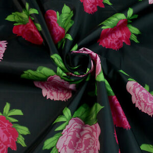 """Lining fabric - Rose pattern - Pink, black - Polyester - Dress fabric - 58"""" wide"""