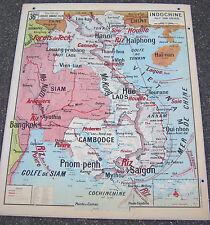 affiche carte scolaire géographie Vidal Lablache 36 bis Indochine Madagascar